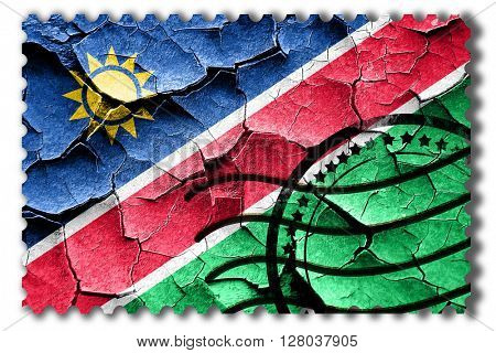 Grunge Namibia flag with some cracks and vintage look