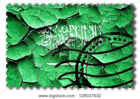 Grunge Saudi Arabia flag with some cracks and vintage look
