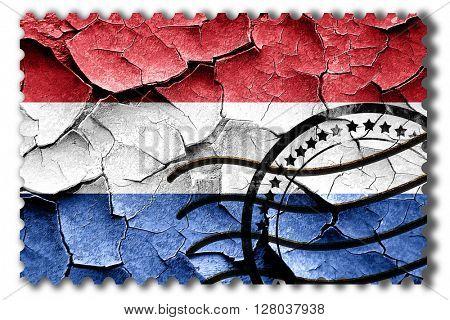 Grunge Netherlands flag with some cracks and vintage look