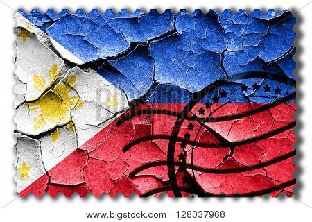 Grunge Philippines flag with some cracks and vintage look