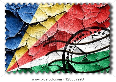 Grunge seychelles flag with some cracks and vintage look