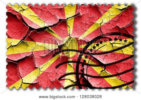 Grunge Macedonia flag with some cracks and vintage look