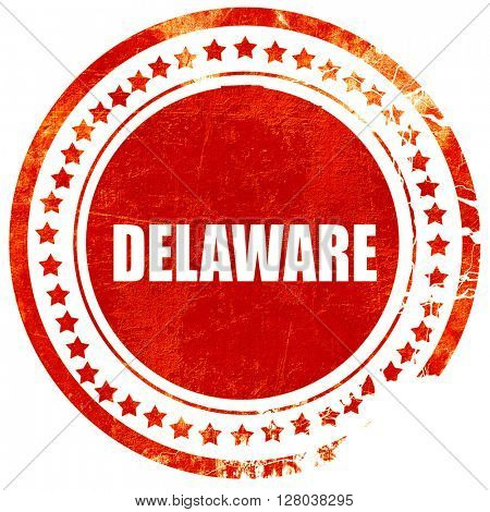 delaware, grunge red rubber stamp on a solid white background