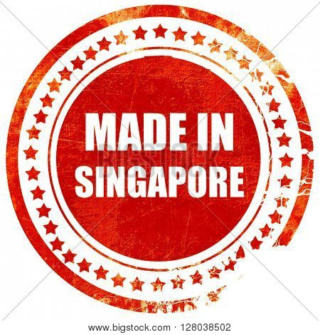 Made in singapore, grunge red rubber stamp on a solid white back