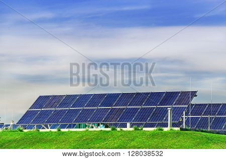 Photovoltaic power station, solar park. Group of solar panel.