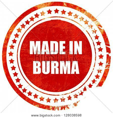 Made in burma, grunge red rubber stamp on a solid white backgrou