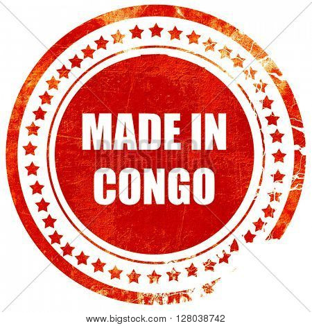 Made in congo, grunge red rubber stamp on a solid white backgrou