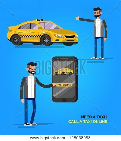 Vector detailed character men with phone taxi hire service application running, creative infographics design on public taxi service application featuring yellow modern taxi