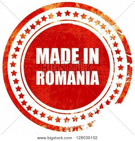 Made in romania, grunge red rubber stamp on a solid white background