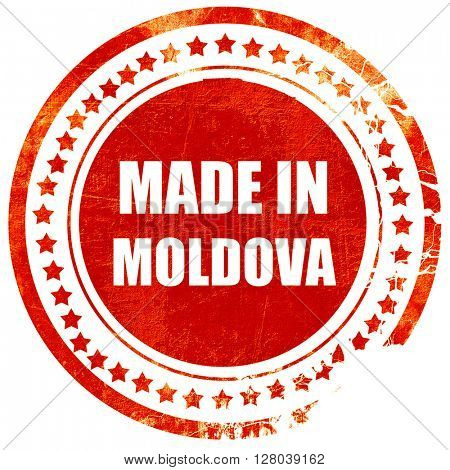 Made in moldova, grunge red rubber stamp on a solid white background