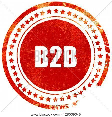 b2b, grunge red rubber stamp on a solid white background