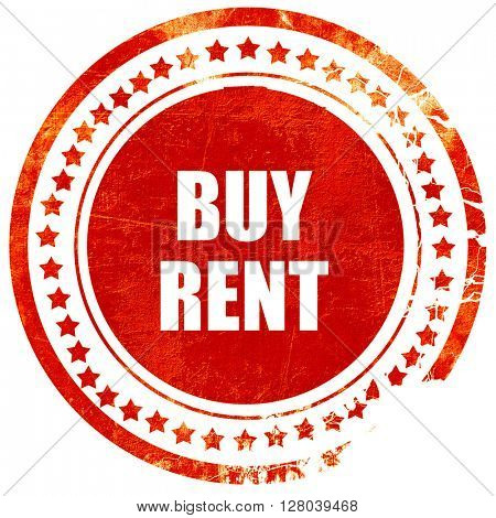 buy rent, grunge red rubber stamp on a solid white background