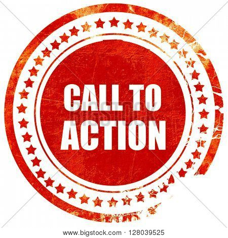 call to action, grunge red rubber stamp on a solid white backgro