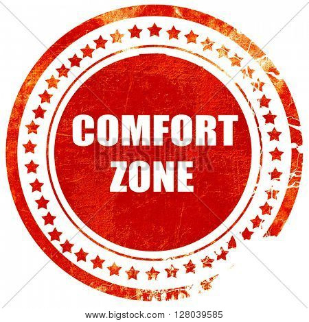 comfort zone, grunge red rubber stamp on a solid white backgroun