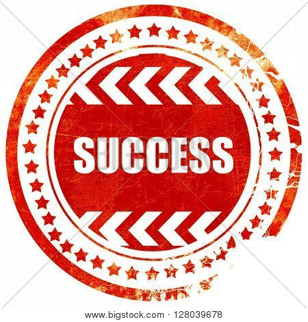 Success sign with smooth lines, grunge red rubber stamp on a sol
