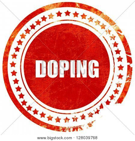 doping, grunge red rubber stamp on a solid white background