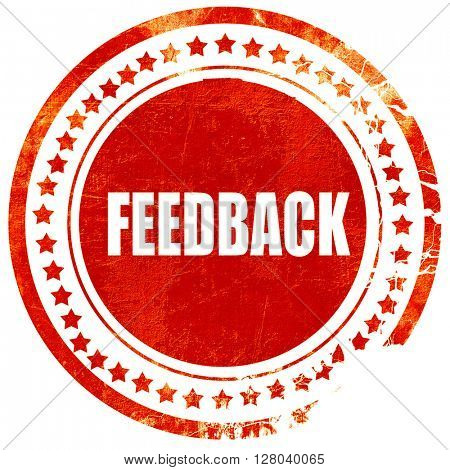 feedback, grunge red rubber stamp on a solid white background