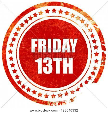 friday 13th, grunge red rubber stamp on a solid white background
