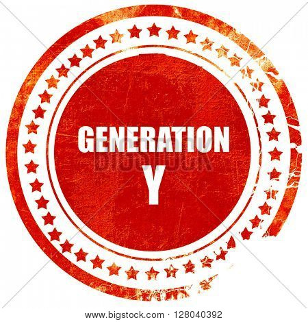 generation y word, grunge red rubber stamp on a solid white back