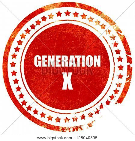 generation x word, grunge red rubber stamp on a solid white back