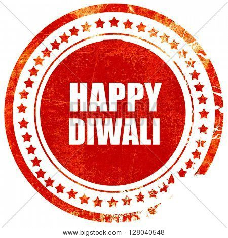 happy diwali, grunge red rubber stamp on a solid white backgroun
