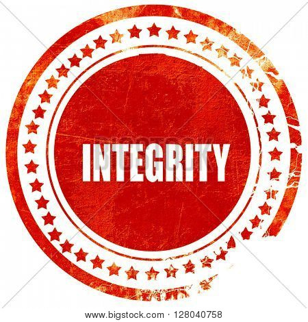 integrity, grunge red rubber stamp on a solid white background