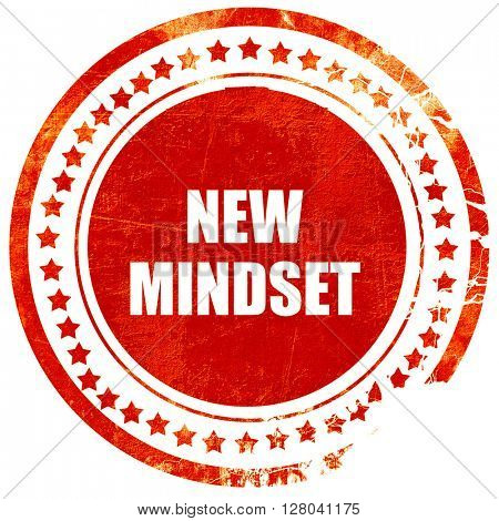 new mindset, grunge red rubber stamp on a solid white background