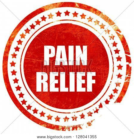 pain relief, grunge red rubber stamp on a solid white background