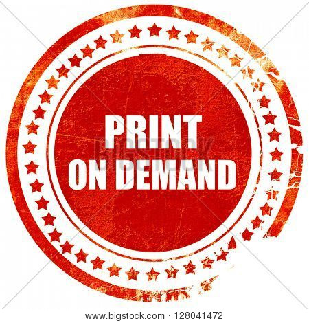 print on demand, grunge red rubber stamp on a solid white backgr