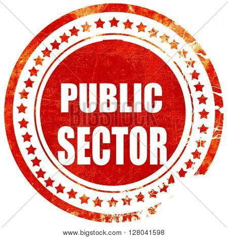 public sector, grunge red rubber stamp on a solid white backgrou