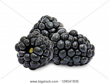 Heap of fresh ripe blackberry berries without leaves isolated on white background. Design element for product label, catalog print, web use.