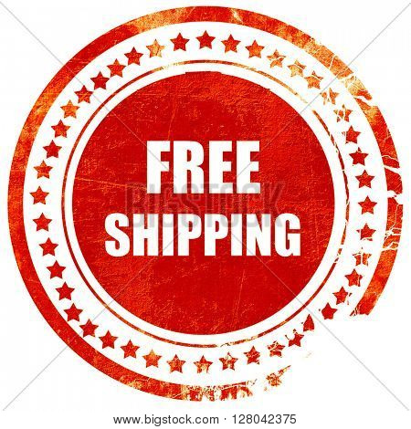 free shipping sign, grunge red rubber stamp on a solid white bac