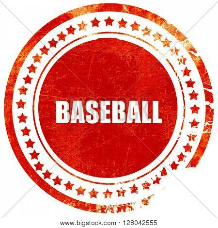 baseball sign background, grunge red rubber stamp on a solid whi