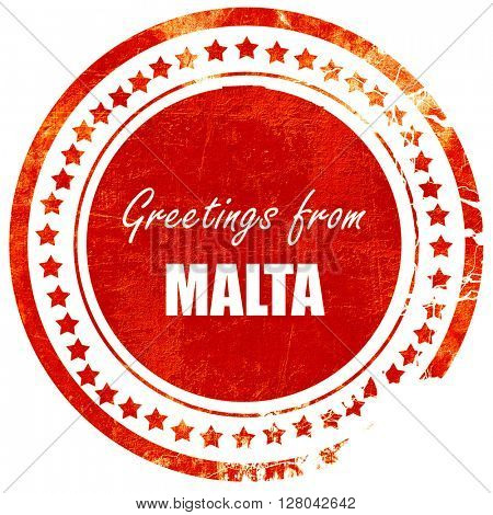 Greetings from malta, grunge red rubber stamp on a solid white b
