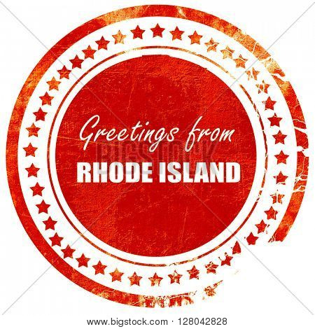 Greetings from rhode island, grunge red rubber stamp on a solid
