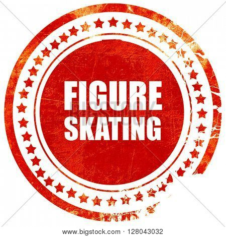 figure skating sign background, grunge red rubber stamp on a sol