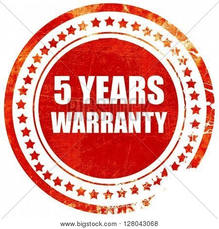 5 years warranty, grunge red rubber stamp on a solid white backg