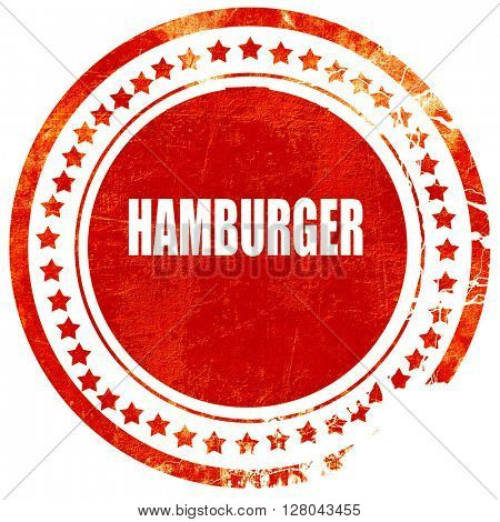 Delicious hamburger sign, grunge red rubber stamp on a solid whi