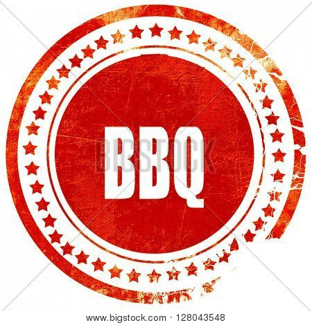 barbecue sign background, grunge red rubber stamp on a solid whi