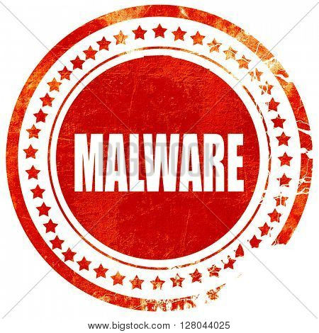 Malware computer background, grunge red rubber stamp on a solid