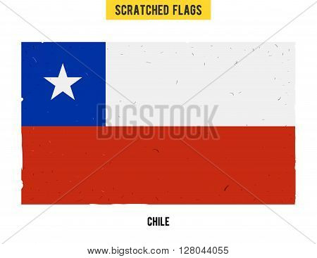 Chilean grunge flag with little scratches on surface. A hand drawn scratched flag of Chile with a easy grunge texture. Vector modern flat design.