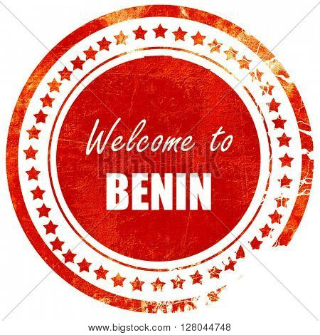 Welcome to benin, grunge red rubber stamp on a solid white backg