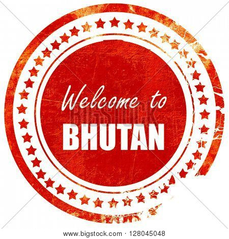 Welcome to bhutan, grunge red rubber stamp on a solid white back