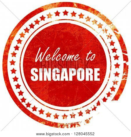 Welcome to singapore, grunge red rubber stamp on a solid white b