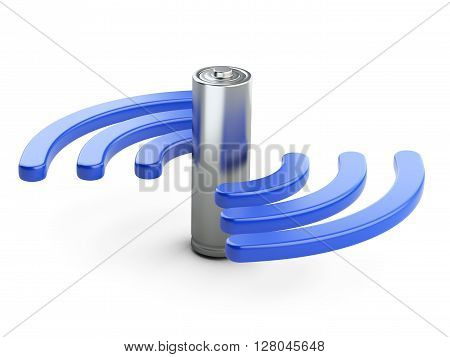 Wireless charger sign and battery. 3D image on a white background