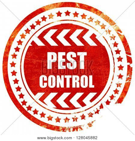 Pest control background, grunge red rubber stamp on a solid whit