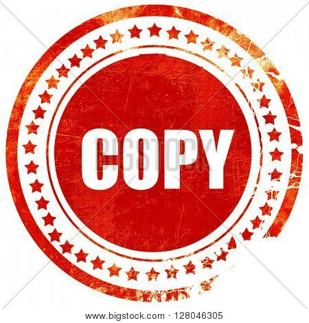 copy sign background, grunge red rubber stamp on a solid white b