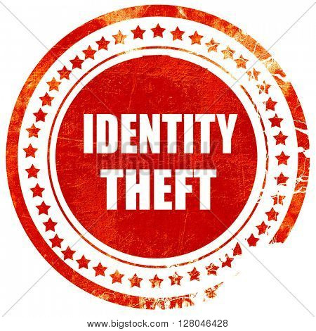 Identity theft fraud background, grunge red rubber stamp on a so