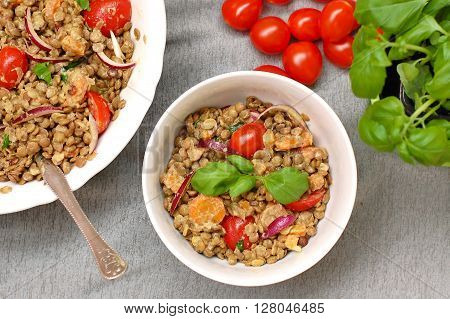 Salad With Lentils, Onion, Tomato, Carrot And Basil