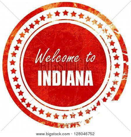 Welcome to indiana, grunge red rubber stamp on a solid white bac